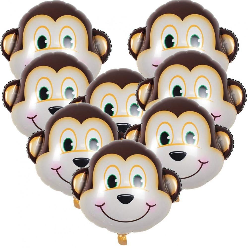 8 palloncini in alluminio testa Scimmia