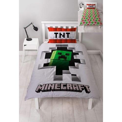 Character World Minecraft Dynamite - Copripiumino Singolo con Licenza Ufficiale, Reversibile, Design Creeper su Entrambi i La