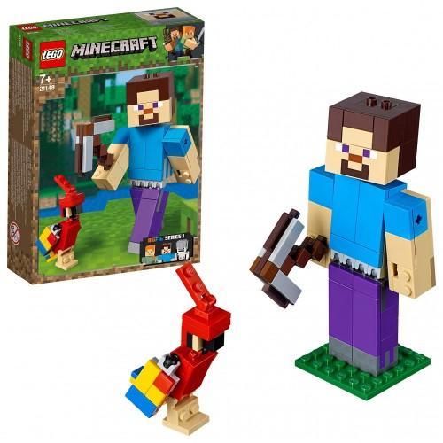 LEGO Minecraft di Steve con pappagallo