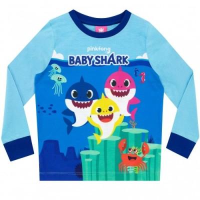 Pinkfong Pigiama a Maniche Lunghe per Ragazzi Baby Shark Blu 2-3 Anni