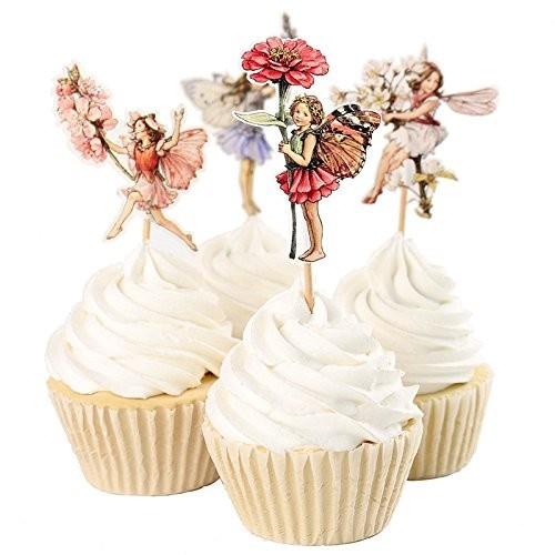 Fumee Confezione da 24 topper per dessert, muffin e cupcake, motivo con bambine, ideali per picnic, matrimoni, feste di compl