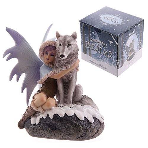 Statua in resina fata con lupo bianco