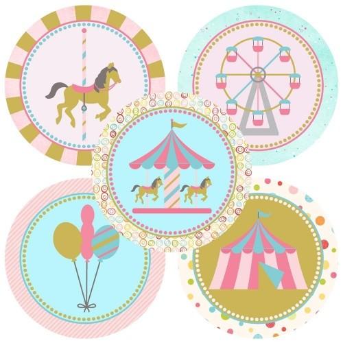 50 etichette adesive tema giostra / Carousel