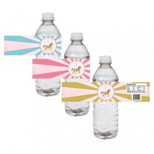 Etichette per bottiglie - Sticker tema Carousel / Giostra