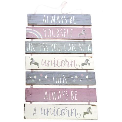 """Targa da appendere in legno, 7 pezzi, con unicorno e scritta """"Always Be Yourself"""""""