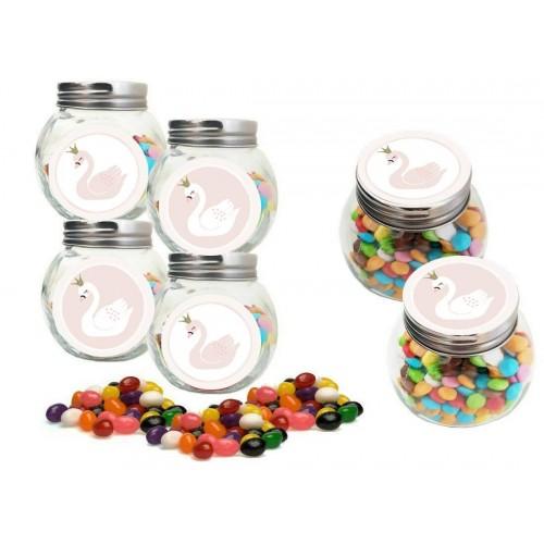 Barattolini con Adesivi e Jelly Beans tema cigno Swan Party