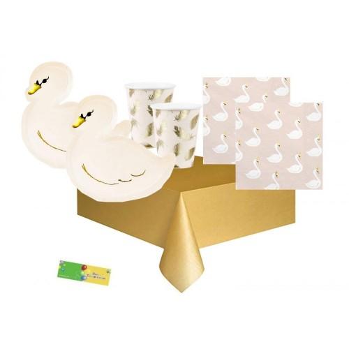 Kit per 24 bambini tema Cigno Lovely Swan, kit compleanno