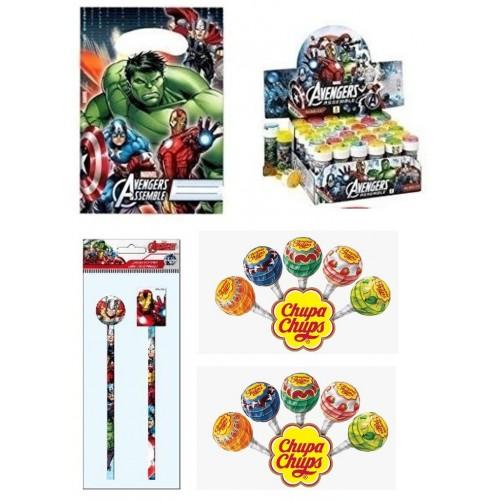 Set 6 Regalini dopo festa Avengers con bolle e lecca lecca