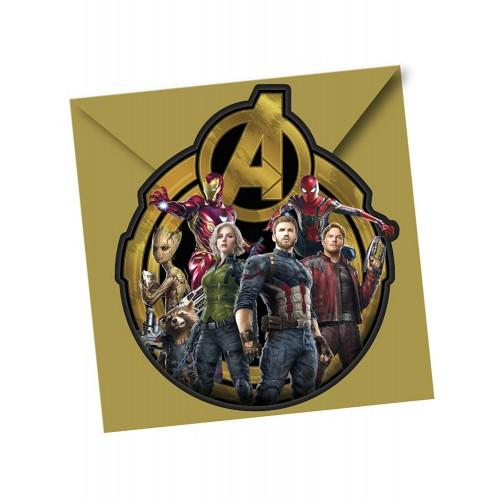 Inviti compleanno Avengers - Confezione da 6 pz