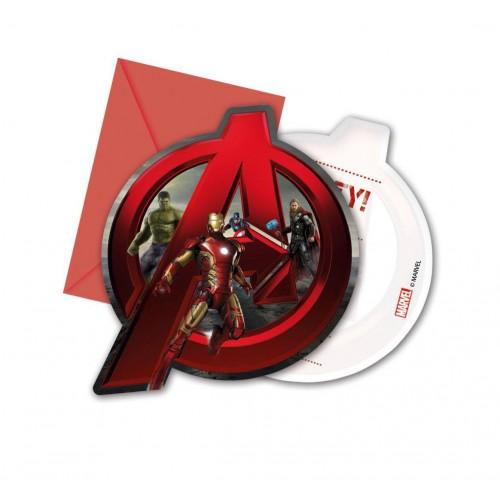 6 Inviti cartolina Avengers con bustine