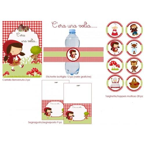 Accessori festa Cappuccetto Rosso, cartellone, adesivi, etichette