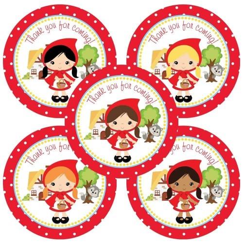 Adorebynat Party Decorations - EU Cappuccetto grazie autoadesivo per ragazze festa di compleanno - Favorisce adesivi busta -