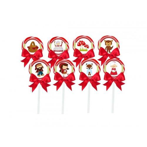 12 Lecca Lecca con targhette / toppers tema Cappuccetto Rosso