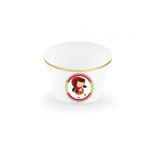 irpot Set Porta Cupcake + 18 Topper Adesivi Festa a Tema Decorazioni Fai da Te Muffin  Cappuccetto Rosso