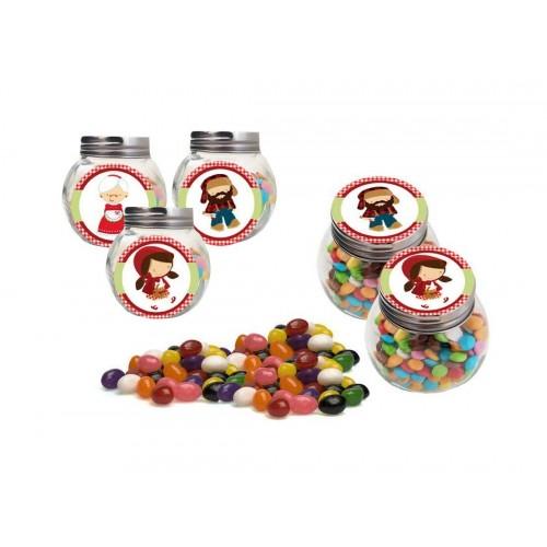 Set Barattolini con Adesivi e Jelly Beans  tema Cappuccetto Rosso
