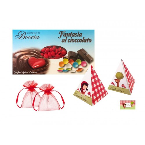 Set Scatoline piramide con lenticchie di Cioccolato tema Cappuccetto Rosso