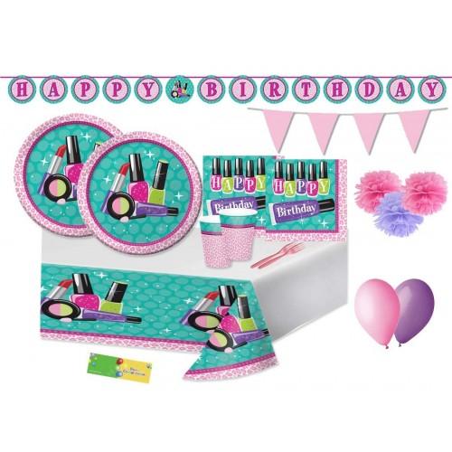 Kit per 16 persone tema Make up Party - Sparkle SPA per feste