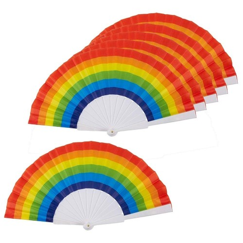 Juvale Rainbow Fans - Confezione da 6 - Rainbow Party Supplies - Ideale per feste a tema arcobaleno e LGBT o Gay Pride Events