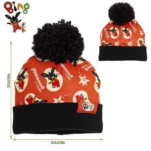 Bing Bunny Set Cappello e Guanti Bambino, Morbido Caldo Berretto Pompon Unisex, Regali di Natale per Bambini a Tema Personagg