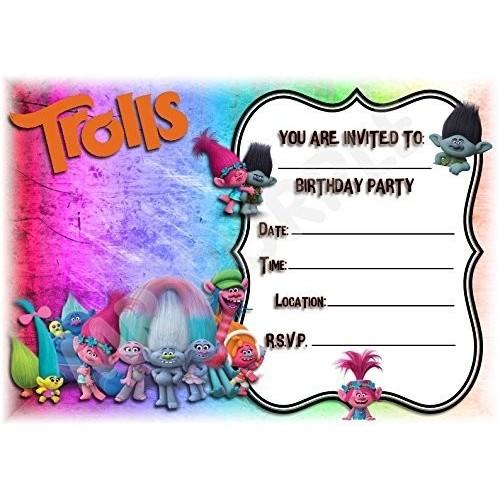 Dreamworks Trolls festa di compleanno inviti-Landscape Frame design-Decorazione per feste/accessori  confezione da 12inv