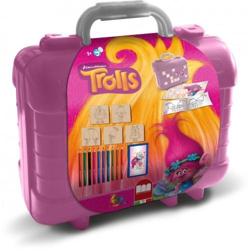 Set timbrini  e matite con valigetta tema Trolls