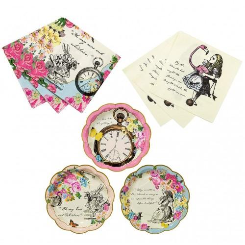 Kit per 12 persone Alice in Wonderland per feste a tema