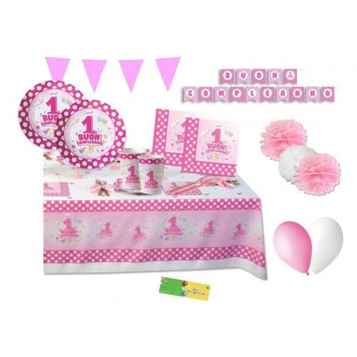 Kit per 20 persone Primo compleanno Pois rosa