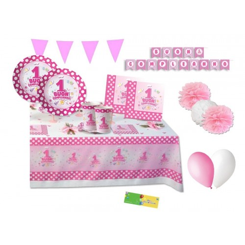 Kit per 32 persone primo compleanno pois rosa