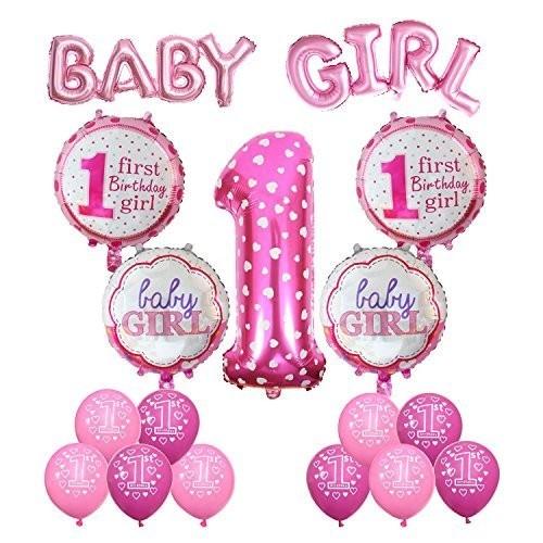 Composizione di palloncini 1° compleanno pois rosa