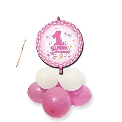 Centrotavola palloncini 1° compleanno pois rosa