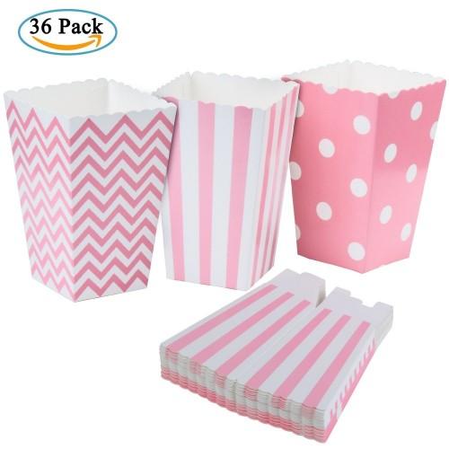 36 contenitori popcorn pois rosa