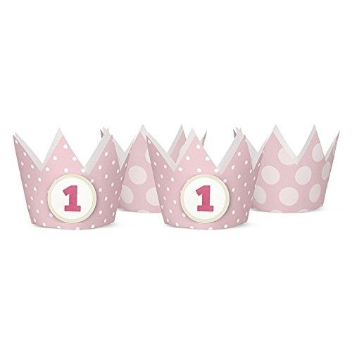 Coroncine 1° compleanno pois rosa