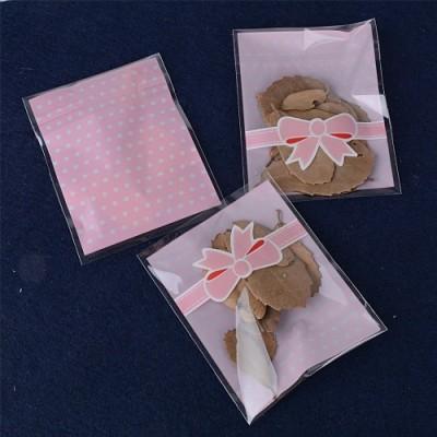 8*10cm + 3cm 200pz Sacchetti Plastica Piccoli Rosa Sacchettini Bustine Trasparenti Confezioni per Regalo Biscotti Caramella