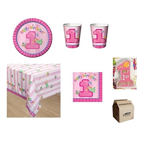 Kit per 32 bambini con candelina tema Fun at One Girls
