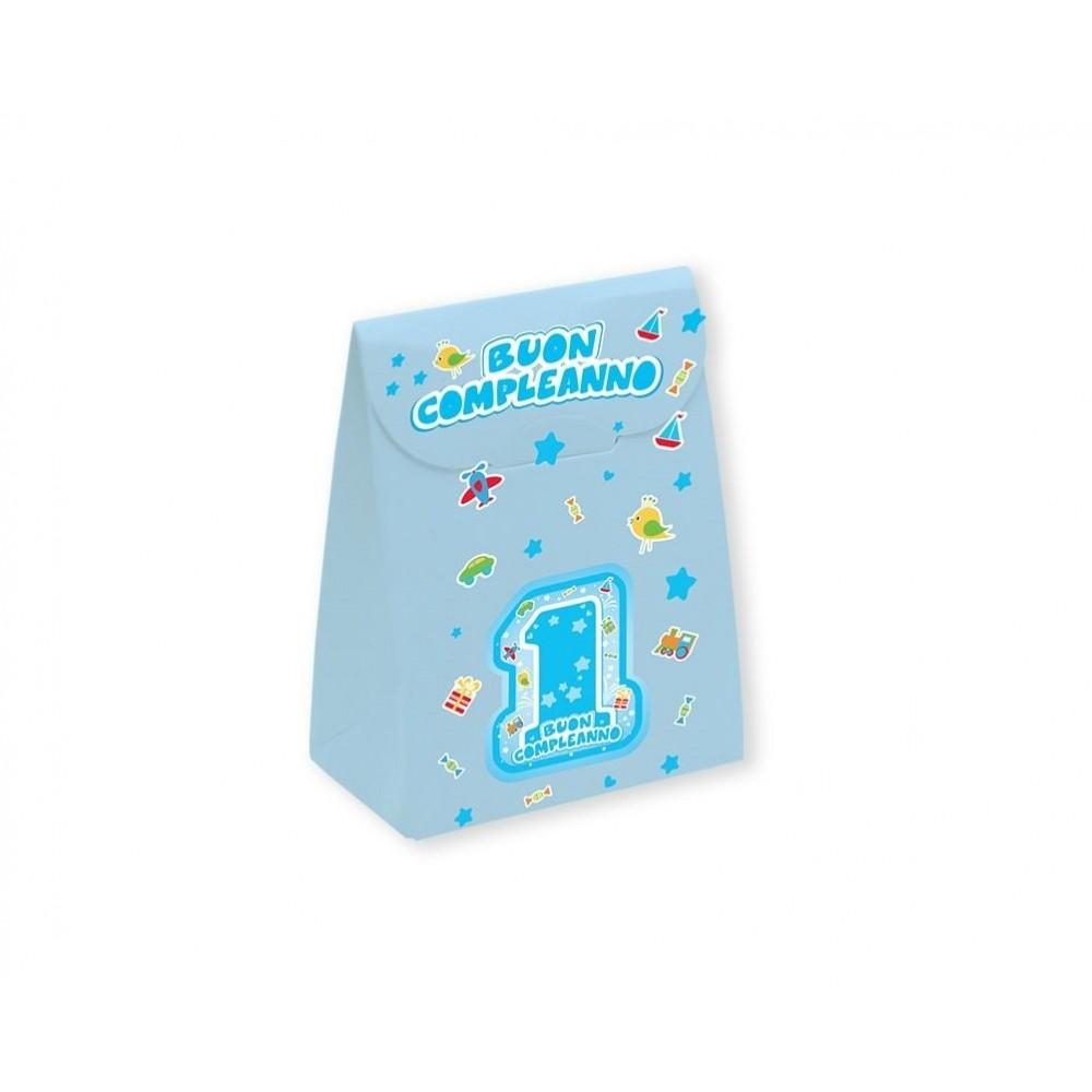 25 scatole portaconfetti One Light Blu - primo compleanno