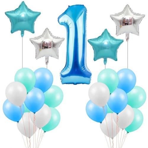 Composizione palloncini 1 anno celeste