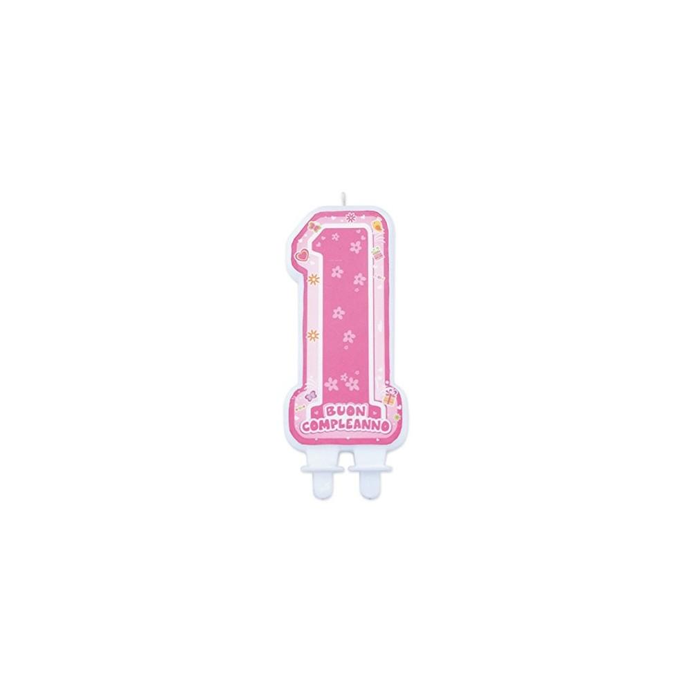 Candelina Maxi 1° Primo compleanno rosa