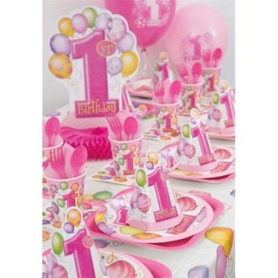 Unique Party 23883 - Tovaglia Plastificata di Compleanno Palloncini Rosa Primo Compleanno, 213 cm x 137 cm