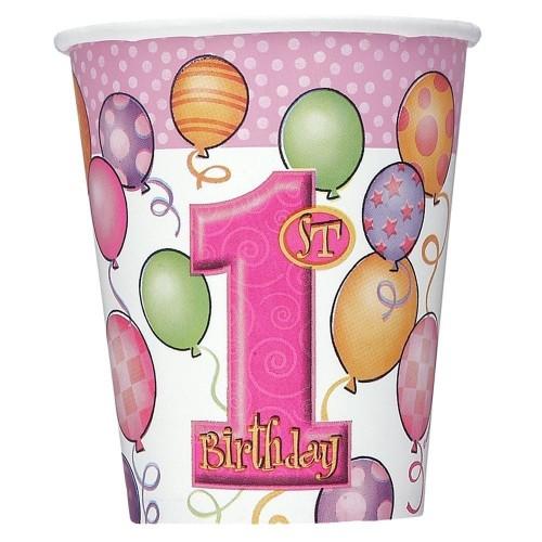 Bicchieri primo compleanno rosa
