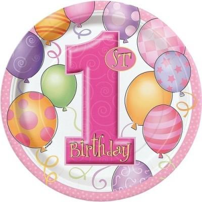 Piatti primo compleanno rosa
