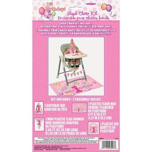 Unique Party 23907 - Kit per Decorazione per Seggioloni Palloncini Rosa Primo Compleanno
