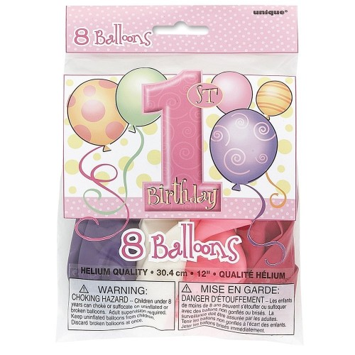 Unique Party 23895 - 30 cm Palloncini Rosa per Primo Compleanno, Confezione di 8