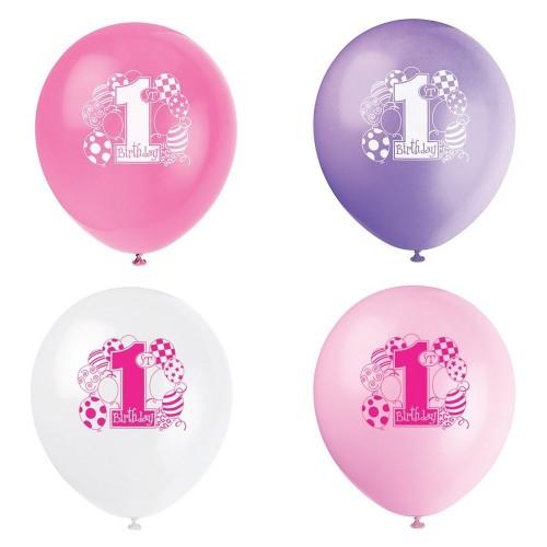 Palloncini primo compleanno rosa