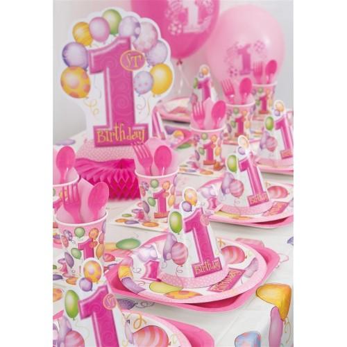 Unique Party 23882 - Tovaglioli di Carta Palloncini Rosa Primo Compleanno, Confezione da 16