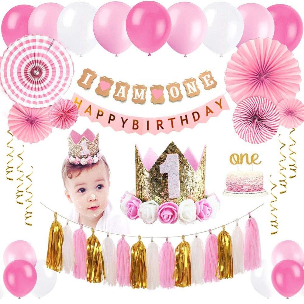Kit per feste decorativo Primo compleanno rosa