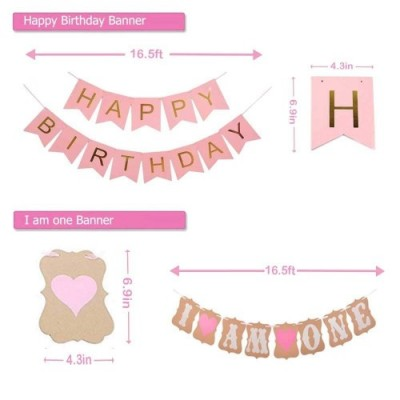 1st Birthday Party Decorations Girl - Primo Decorazione Festa di Compleanno per Bambini Kit Rosa, Bandierine Stelle Filanti P