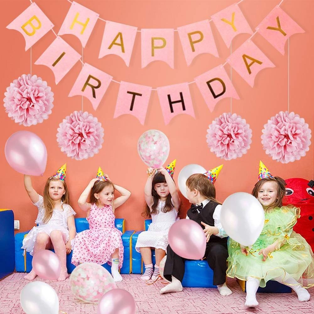 Set allestimento primo compleanno rosa