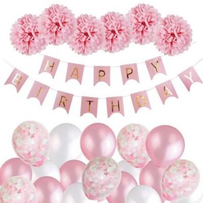 MMTX Decorazione Compleanno Bimba, Buon Compleanno Ghirlanda Balloons Banner Set con Decorazione di Compleanno Carta Velina P