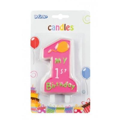 Candelina Primo compleanno rosa