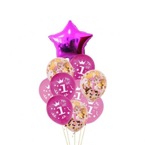 Funmo 1°Compleanno Decorazioni per Neonati, 1st Decorazione di Compleanno Kit di Addobbi Compleanno Baby Girl Primo Compleann